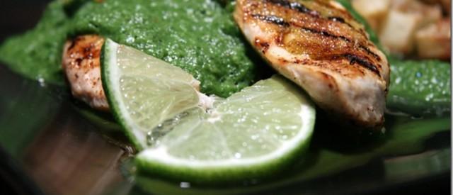 Panert kylling med kremet spinat