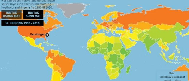Kostholdsvanene verden rundt blir mer og mer usunn